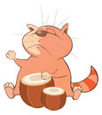 Illustration of a Cute Cat Drummer. Cartoon Character Royalty Free Stock Photo