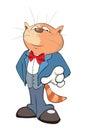Illustration of a Cute Cat Gentleman. Cartoon Character
