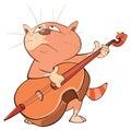 Illustration of a Cute Cat Violinist Jazz Bassist. Cartoon Character