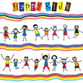 Illustration - cute children(kids)jumping & dancing together Royalty Free Stock Image