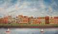 Illustration of a cute city on the river group houses along coast Stock Photo