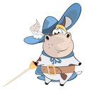 Illustration of a Cute Cow. King's Musketeer. Cartoon Character