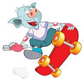 Illustration of Cute Devil Skateboarding Cartoon Royalty Free Stock Photo