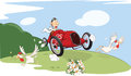 Illustration of a Cute Driven Sports car racing