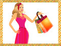 Illustration cute girl shopping Royalty Free Stock Photos