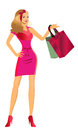 Illustration cute girl shopping Royalty Free Stock Photography