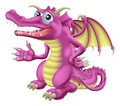 Illustration cute happy purple dragon character mascot Stock Photo