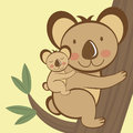 Illustration cute koala sitting tree baby Royalty Free Stock Image