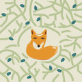 Illustration of a cute little fox in a forest with bushy tail or woodland with tracery stylized green branches and leaves Stock Photo