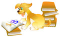 Illustration of cute little puppy learning to read the book.