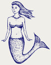Illustration cute mermaid doodle style Royalty Free Stock Images