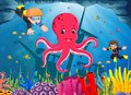 Cute octopus under the sea with boy and girl diving