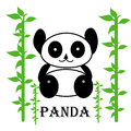 Illustration of cute panda with bamboo tree Royalty Free Stock Images