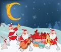 Illustration of Cute Santa Claus Music Band and Christmas Gifts Royalty Free Stock Photo