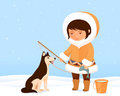 Illustration cute small inuit girl her dog Stock Images