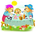 Illustration of cute three bears family eating the breakfast. Father, mother and baby sitting at the table.
