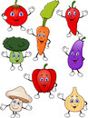 Illustration cute vegetable cartoon character set Stock Photography
