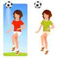 Illustration of a cute young girl playing soccer Royalty Free Stock Images