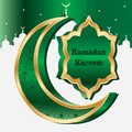 Ramadan six star half moon 3d card template