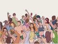 Illustration of dancing festival crowd