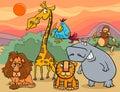 Illustration de bande dessinée de groupe d animaux sauvages Image stock
