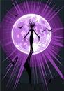 Illustration de vecteur d'une sorcière de vol Photos libres de droits