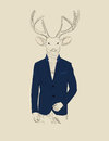 Illustration de vintage d un cerf commun dans un costume Photo libre de droits