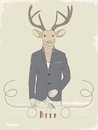 Illustration de vintage d un cerf commun dans un costume Image stock