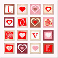 Illustration of decorative hearts and letters LOVE Stock Image