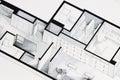 Illustration of deep elegant floor plan design apartment