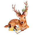 Illustration the deer rider is taking the rest at the deer s side reading a book realistic fantastic cartoon style wallpaper scene Royalty Free Stock Image