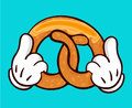 Illustration of delicious pretzel and holding hands.