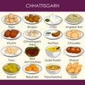 Illustration of delicious traditional food of Chhattisgarh India