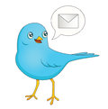 Illustration depicting cute cartoon blue bird bringing message Stock Photo