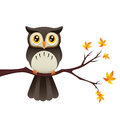 An illustration depicting a cute owl sitting on a branch Stock Image