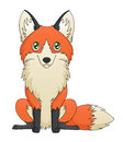 An illustration depicting a cute red fox cartoon sitting Stock Photos