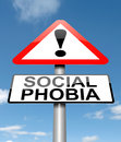 Illustration depicting a sign with a social phobia concept Stock Photo