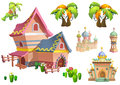 Illustration: Desert Theme Elements Design Set 2. Game Assets. The House, The Tree, The Cactus, The Stone Statue. Royalty Free Stock Photo