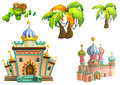 Illustration: Desert Theme Elements Design Set 3. Game Assets. The House, The Tree, The Cactus, The Stone Statue. Royalty Free Stock Photo
