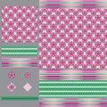 Arabic style flower gradient set seamless pattern