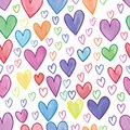 Love heart watercolor line seamless pattern Royalty Free Stock Photo