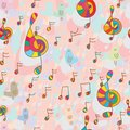 Bird and music seamless pattern