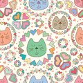 Cat sleep mandala love pastel seamless pattern Royalty Free Stock Photo