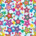 Star flower cute face vertical seamless pattern