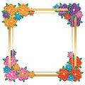 Flower colorful gradient decor frame template