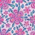 Flower line petal drawing dotted seamless pattern