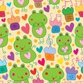 Frog music note gold glitter seamless pattern Royalty Free Stock Photo