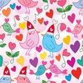 Love bird singing love song seamless pattern