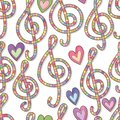 Music love many color watercolor seamless pattern Royalty Free Stock Photo