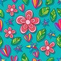 Flower leaf star love seamless pattern Royalty Free Stock Photo